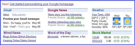 Personalize your Google homepage